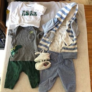 Two baby boy outfit and a pair of shoes